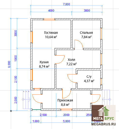 Планировка 1-го этажа, дом из бруса 7x9