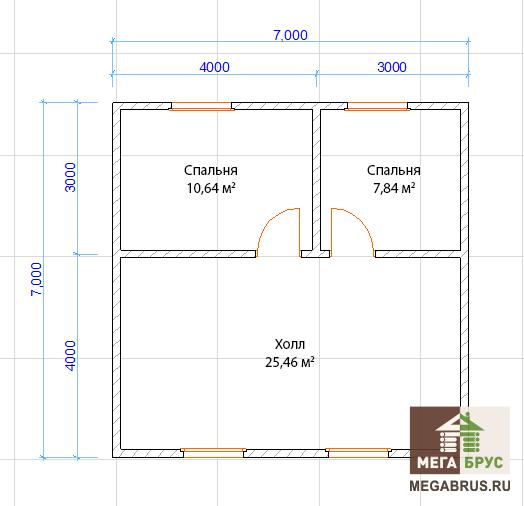 Планировка 2-го этажа, дом из бруса 7x9